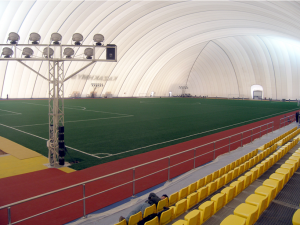 Football Interior with running track perimeter and tiered seating